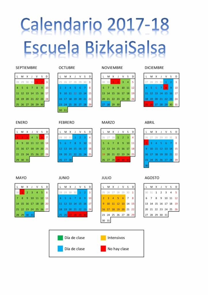 Calendario Escuela Bizkaisalsa