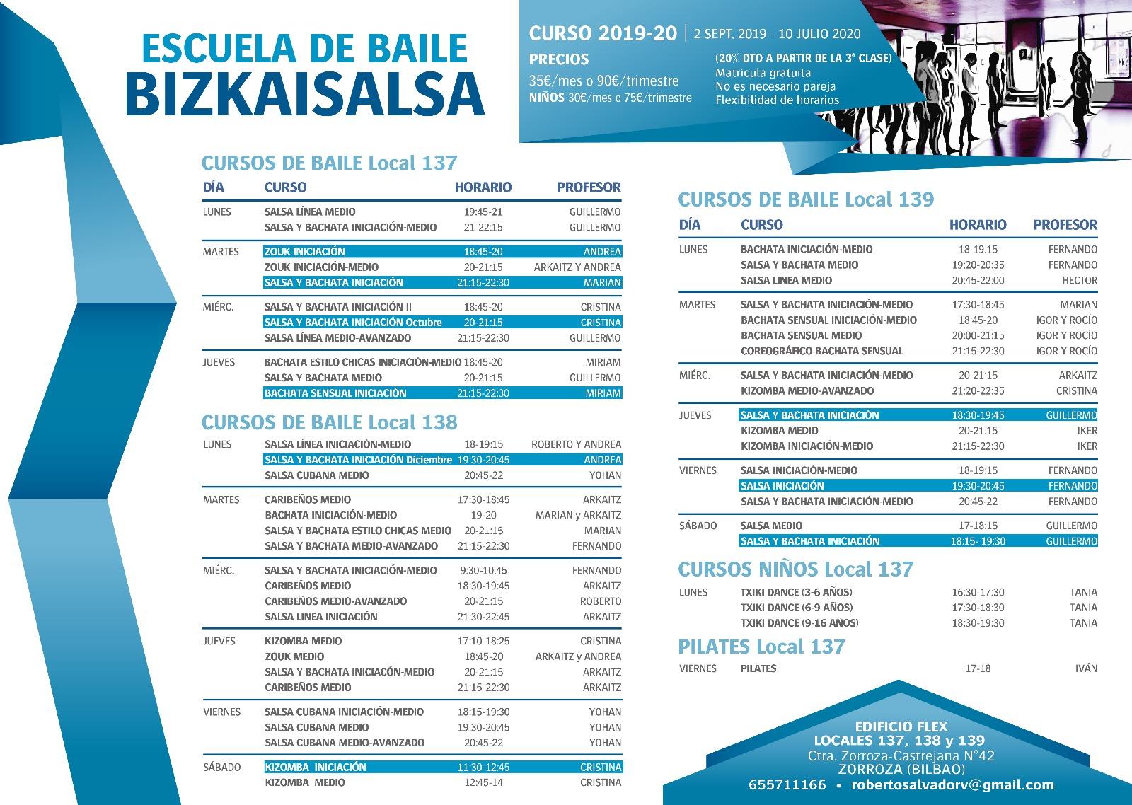 Calendario 2020 Bizkaia.Clases Bilbao Bizkaia Vizcaya Zorroza Barakaldo Bailar Baile