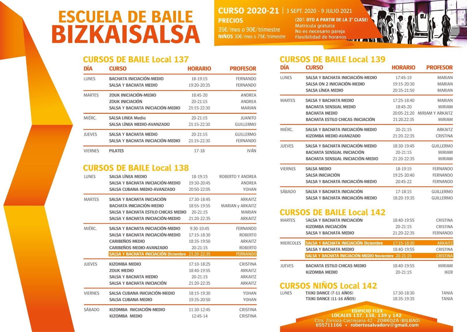 horarios clases Bizkaisalsa
